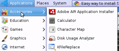 Adobe AIR installer in menu